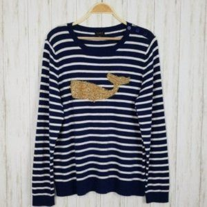 Talbots Shimmery Gold Whale Blue Striped Sweater